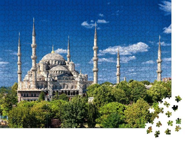 """Puzzle 1000 Teile """"Aufnahme der Blauen Moschee, Istanbul, Türkei"""""""