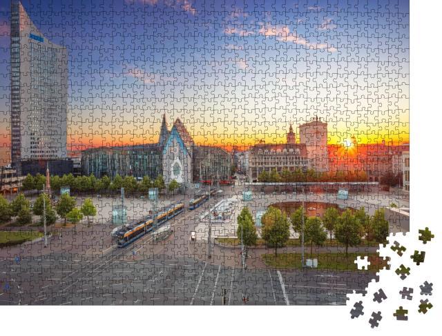 """Puzzle 1000 Teile """"Stadtbild Bild von Leipzig: Innenstadt bei Sonnenuntergang"""""""