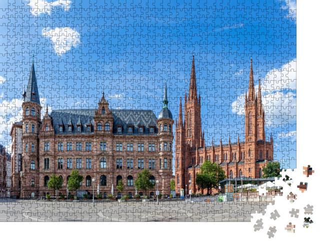 """Puzzle 1000 Teile """"Neues Rathaus und Marktkirche in Wiesbaden, Deutschland"""""""