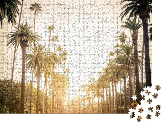 """Puzzle 1000 Teile """"Beverly Hills Straße mit Palmen bei Sonnenuntergang, Los Angeles"""""""