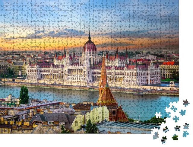"""Puzzle 1000 Teile """"Sonnenuntergang über berühmten Wahrzeichen in Budapest"""""""