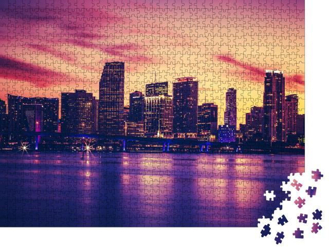 """Puzzle 1000 Teile """"Skyline von Miami im Sonnenuntergang"""""""