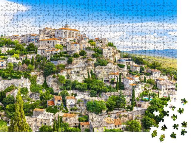 """Puzzle 1000 Teile """"Mittelalterliche Stadt: Ansicht von Gordes, Provence, Frankreich"""""""