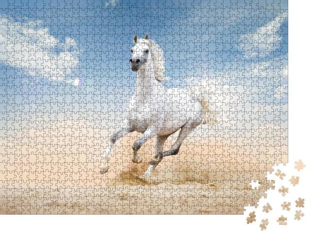 """Puzzle 1000 Teile """"Drei Araber-Pferde laufen durch eine Wüste"""""""