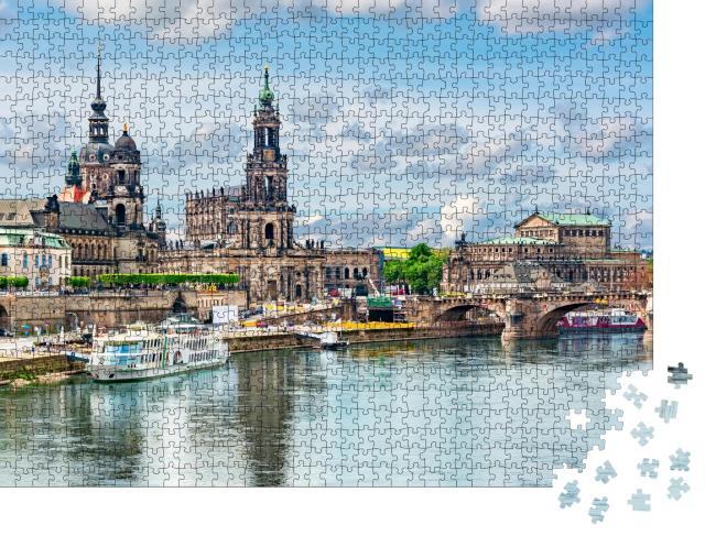 """Puzzle 1000 Teile """"Stadtbild von Dresden mit Elbe, Sachsen, Deutschland"""""""