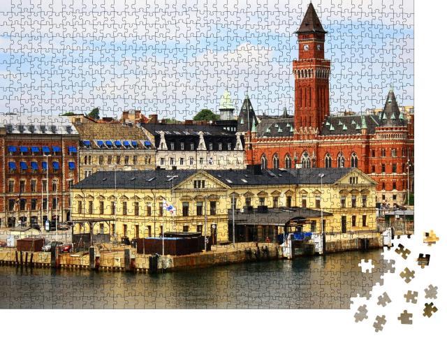 """Puzzle 1000 Teile """"Schöne Aussicht auf Helsingborg mit Hafen, Schweden"""""""