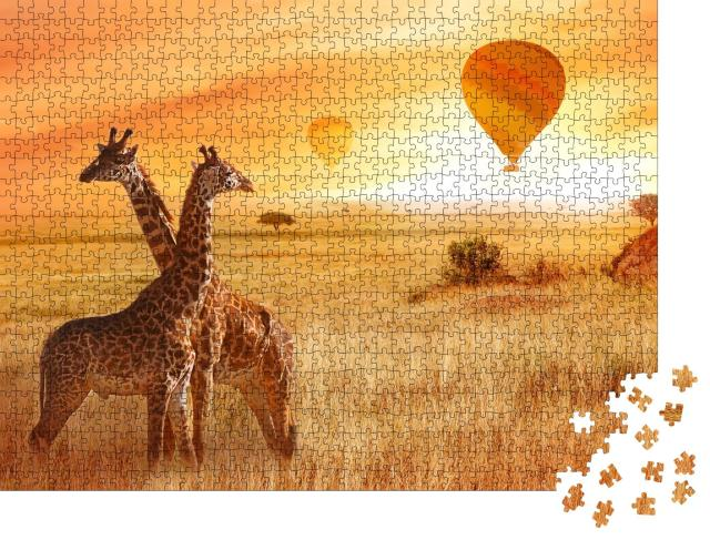 """Puzzle 1000 Teile """"Aussichtsreiche Ballonfahrt: Giraffen in der afrikanischen Savanne"""""""