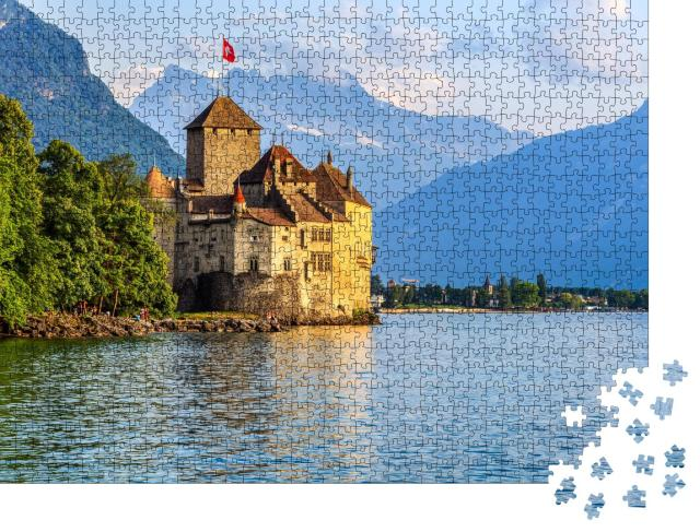 """Puzzle 1000 Teile """"Sonnenuntergang über Schloss Chillon am Genfer See"""""""
