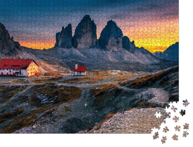 "Puzzle 1000 Teile ""Drei Zinnen mit Rifugio Locatelli-Hütte , Dolomiten, Italien"""