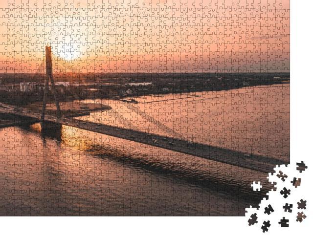 "Puzzle 1000 Teile ""Brücke über den Fluss bei Sonnenuntergang"""