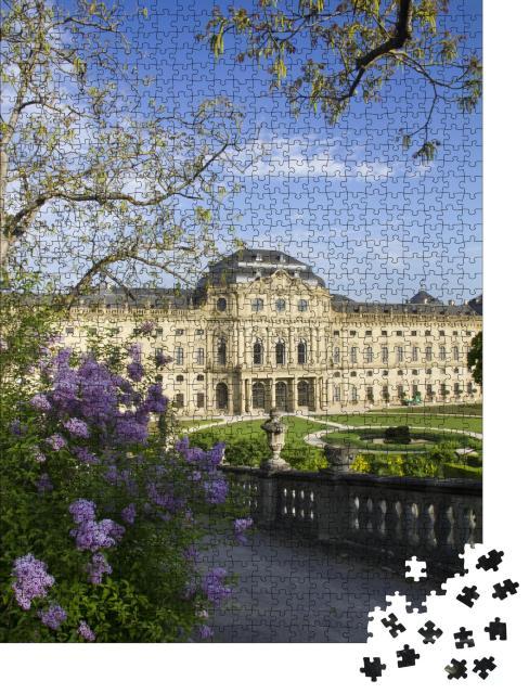 """Puzzle 1000 Teile """"Schöne Blumen vor der Residenz in Würzburg in Deutschland"""""""
