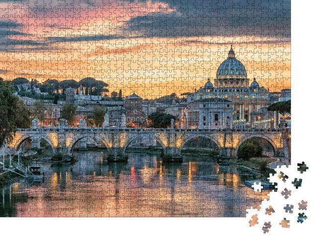"""Puzzle 1000 Teile """"Sonnenuntergang über der Stadt Rom am Abend"""""""