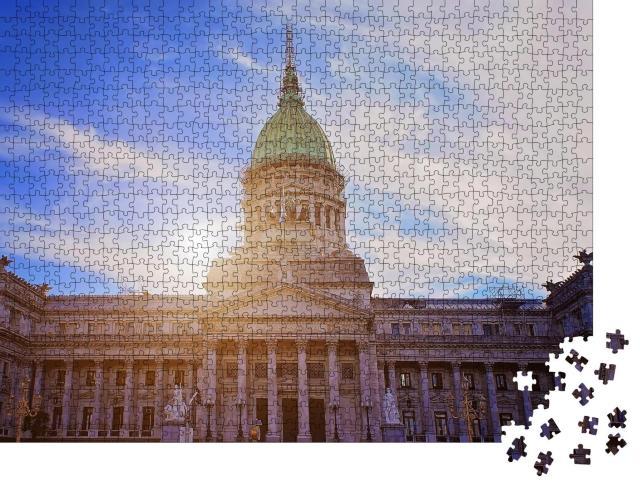 """Puzzle 1000 Teile """"Nationalkongressgebäude von Buenos Aires, Argentinien"""""""