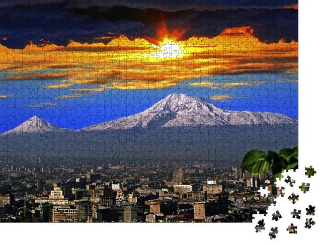 """Puzzle 1000 Teile """"Spektakulärer Blick auf den Berg Ararat und die Stadt Eriwan"""""""