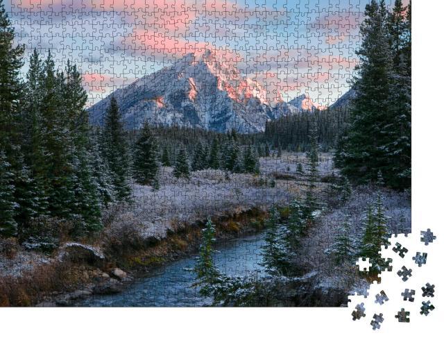 """Puzzle 1000 Teile """"Naturszene in den kanadischen Rocky Mountains während eines Sonnenaufgangs"""""""