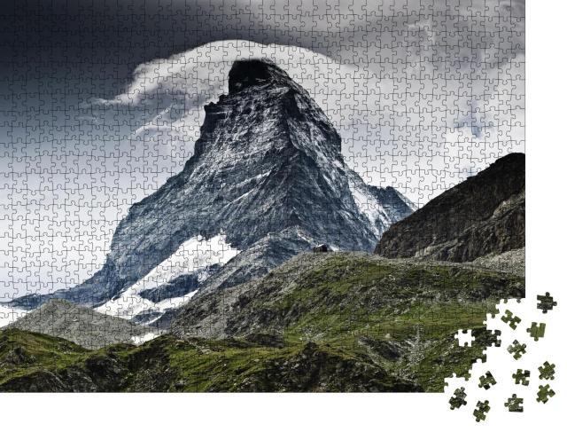 """Puzzle 1000 Teile """"Dramatisches Wetter über dem Matterhorn, Wahrzeichen der Schweiz"""""""