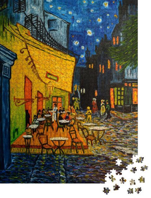 """Puzzle 1000 Teile """"Café in Paris nach dem berühmten Gemälde von Vincent Van Gogh"""""""
