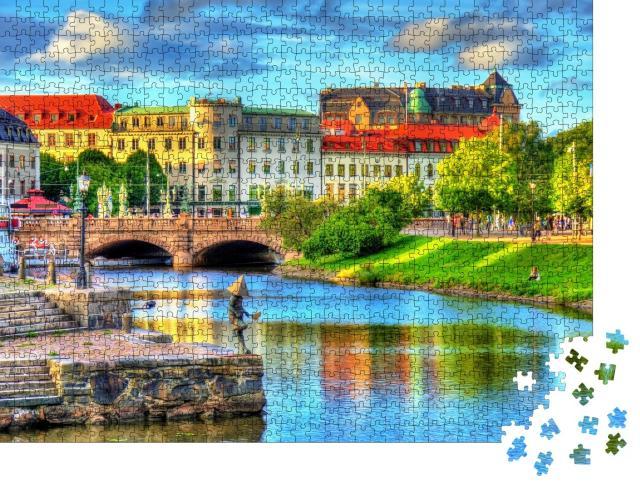 """Puzzle 1000 Teile """"Kanal im historischen Zentrum von Göteborg, Schweden"""""""