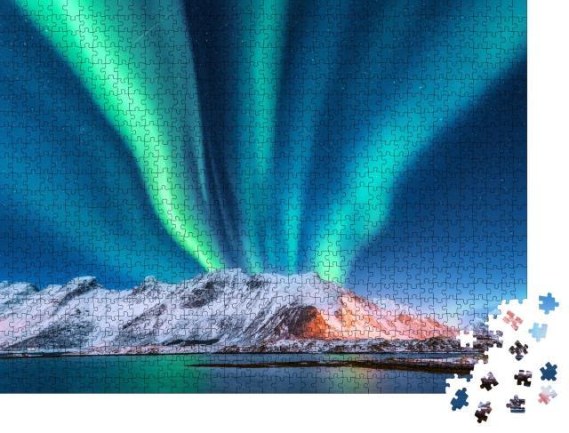 """Puzzle 1000 Teile """"Polarlicht über Norwegen mit Sternenhimmel"""""""