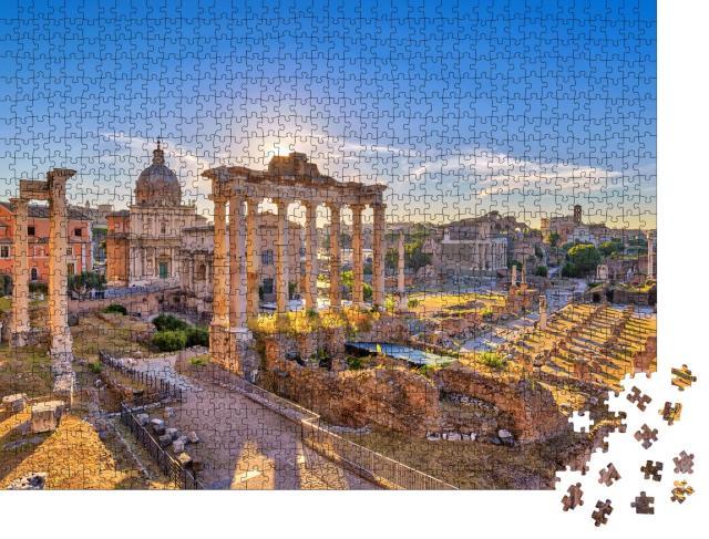 """Puzzle 1000 Teile """"Sonnenaufgang über Rom mit Forum Romanum"""""""