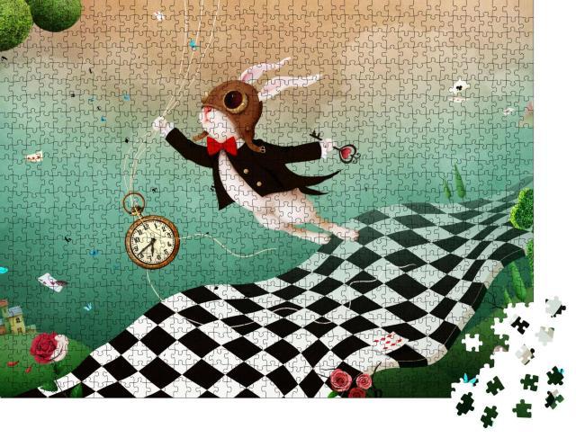 """Puzzle 1000 Teile """"Magische Fantasie: Wunderland mit Kaninchen und Schachstraße"""""""