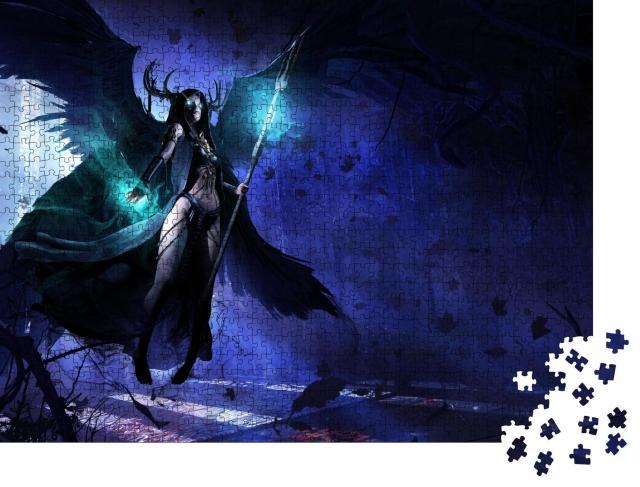 """Puzzle 1000 Teile """"Gothic-Illustration: Weiblicher schwarzer Todesengel"""""""
