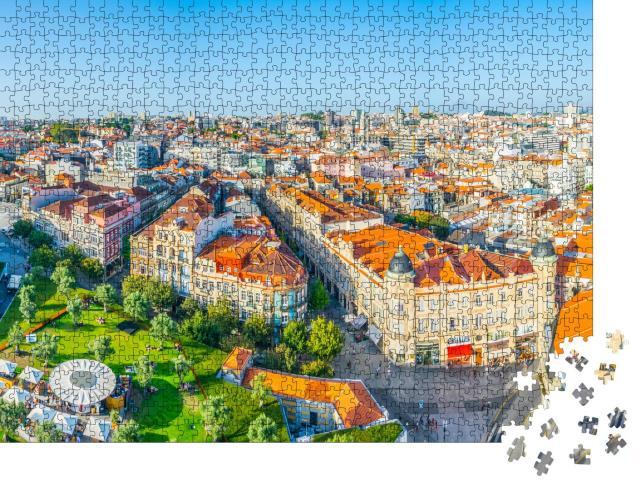 "Puzzle 1000 Teile ""Luftaufnahme der Praca de Lisboa in Porto, Portugal"""