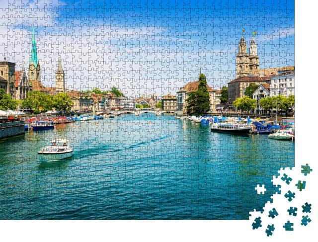 """Puzzle 1000 Teile """"Zürich am Limmat und Zürichsee, Schweiz"""""""