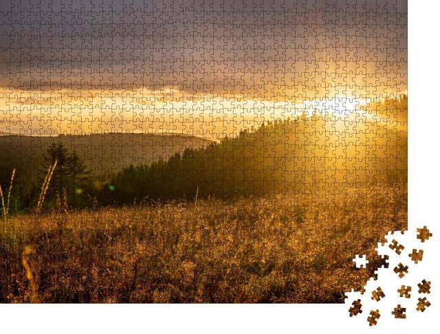 """Puzzle 1000 Teile """"Sonnenuntergang auf dem Feldberg im Südschwarzwald, Deutschland"""""""