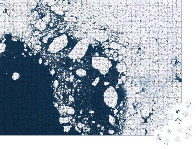 """Puzzle 1000 Teile """"Gletscher und Eisschmelze: Sattelitenbild der nördlichen Regionen"""""""