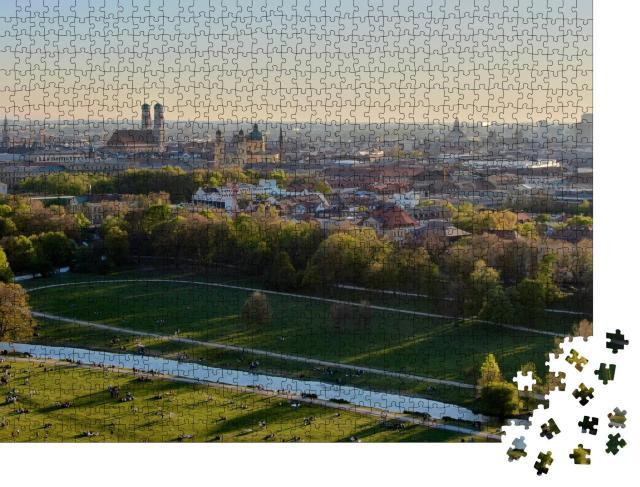 """Puzzle 1000 Teile """"Münchner Stadtbild mit dem Englischen Garten und dem Eisbach"""""""