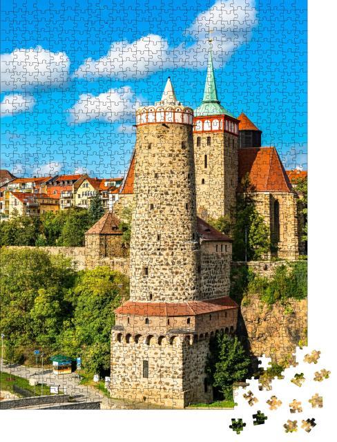 """Puzzle 1000 Teile """"Alter Wasserturm und Michaeliskirche in Bautzen, Deutschland"""""""