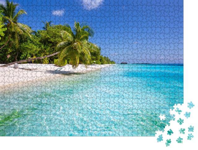 """Puzzle 1000 Teile """"Sommerlandschaft: tropischer Strand mit Hängematte"""""""