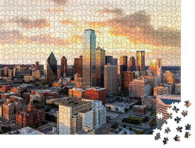 """Puzzle 1000 Teile """"Sonnenuntergang über Dallas, Texas"""""""