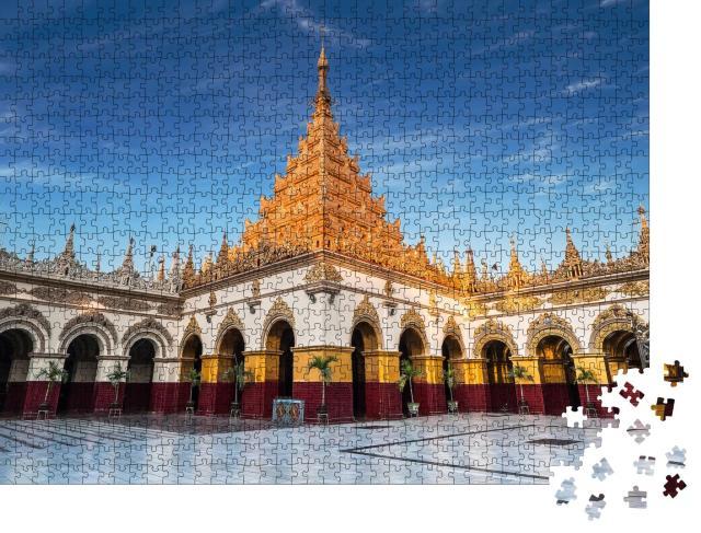 """Puzzle 1000 Teile """"Beeindruckende Architektur des buddhistischen Tempel in Mandalay, Myanmar"""""""