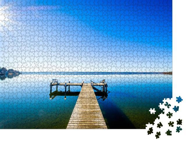 """Puzzle 1000 Teile """"Holzsteg in die Unendlichkeit. Ammersee, Herrsching"""""""
