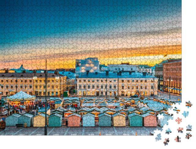"""Puzzle 1000 Teile """"Abendlicher Weihnachtsmarkt in Helsinki"""""""