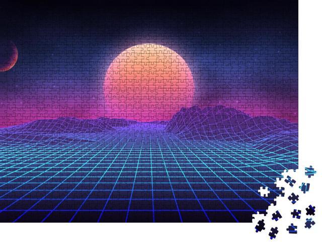 """Puzzle 1000 Teile """"Futuristische Retro-Landschaft der 80er Jahre: Sonne mit Bergen"""""""