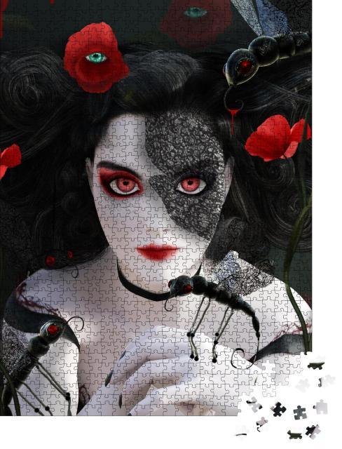 """Puzzle 1000 Teile """"Dunkles Gothic-Porträt: Frau mit surrealen Mohnblumen und Schmetterlingen"""""""