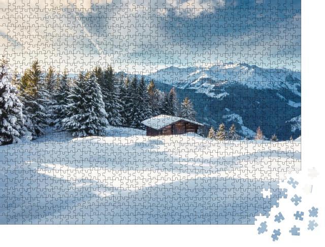 """Puzzle 1000 Teile """"Berghütte im Winterwunderland"""""""