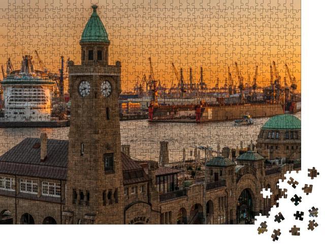 """Puzzle 1000 Teile """"Sonnenuntergang über den Landungsbrücken und dem Hafen in Hamburg"""""""