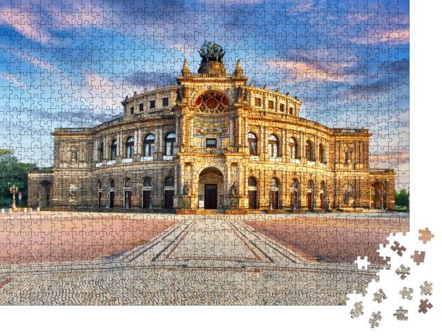 """Puzzle 1000 Teile """"Semperoper in Dresden bei Nacht, Deutschland"""""""
