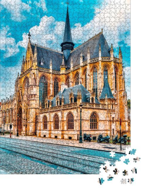 """Puzzle 1000 Teile """"Kathedrale Notre Dame du Sablon, Brüssel, Belgien, EU"""""""