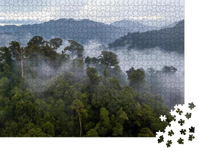 """Puzzle 1000 Teile """"Dunst über dem tropischen Regenwald nach einem Sturm"""""""