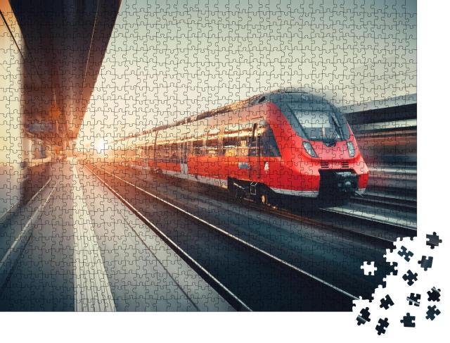 """Puzzle 1000 Teile """"Zug bei der Bahnhofsdurchfahrt"""""""