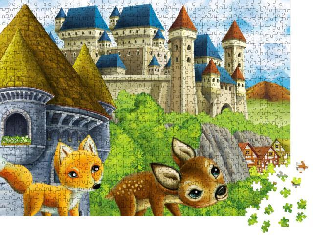 """Puzzle 1000 Teile """"Illustration: Kleiner Fuchs und kleines Reh auf dem Weg zum Schloss"""""""