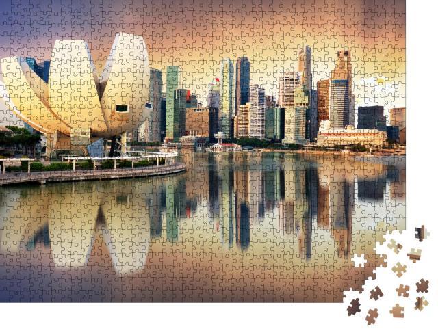 """Puzzle 1000 Teile """"Skyline von Singapur am Yachthafen im Licht des Abends"""""""