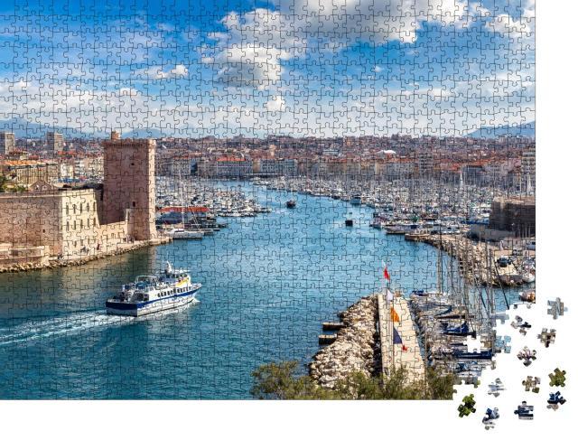 """Puzzle 1000 Teile """"Schloss Saint Jean und der Vieux Port in Marseille, Frankreich"""""""