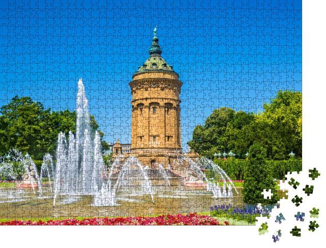 """Puzzle 1000 Teile """"Springbrunnen und Wasserturm auf dem Friedrichsplatz, Mannheim"""""""