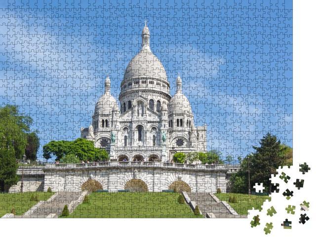 """Puzzle 1000 Teile """"Basilika Sacre Coeur am Montmartre-Hügel, Paris, Frankreich"""""""